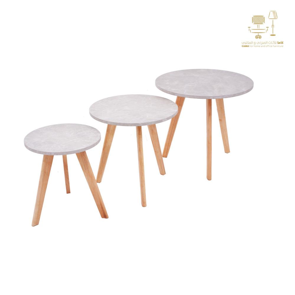 من كاماC-707alabaster طقم طاولة خدمة خشب لون رخامي دائري ثلاثي