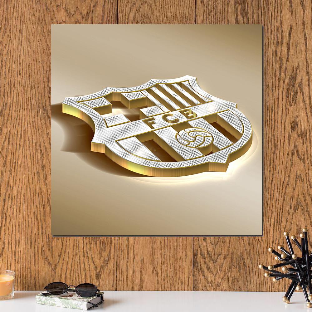لوحة شعار نادي برشلونة خشب ام دي اف مقاس 30x30 سنتيمتر