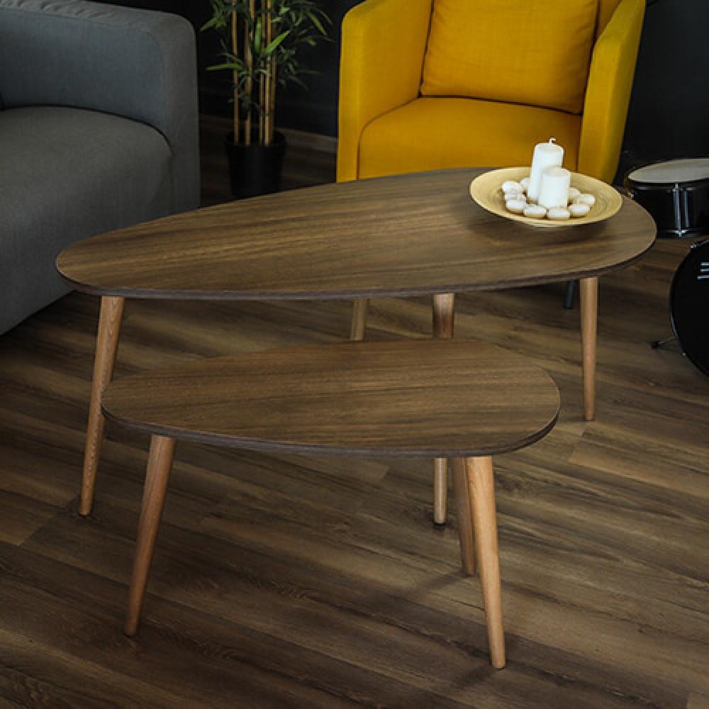 صور طاولة  قهوه طاولات قهوة خشب بني 2 قطعة موديل تروي