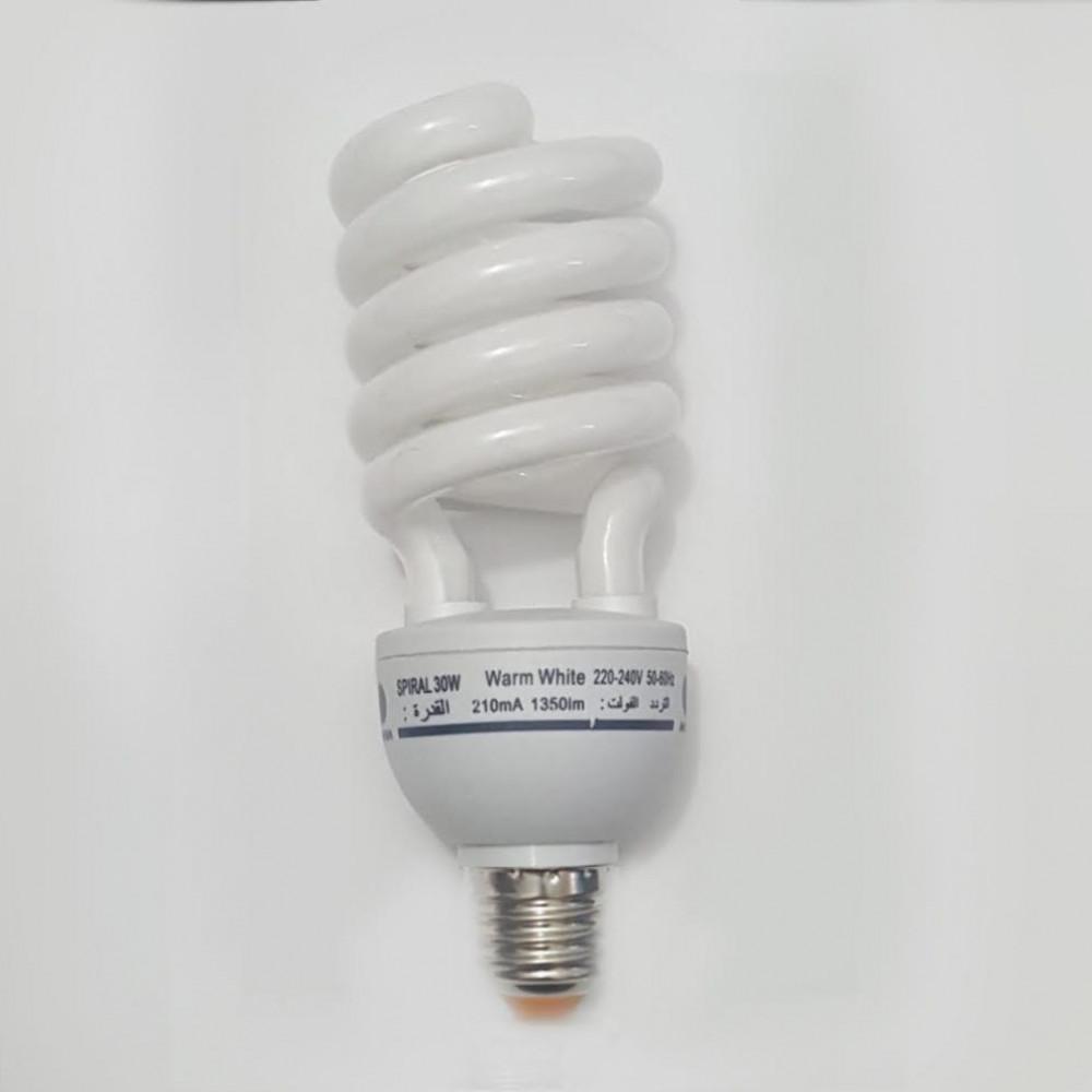 لمبة توفيرية حلزوني اصفر spiral energy saving lamp  E27 30W  220V
