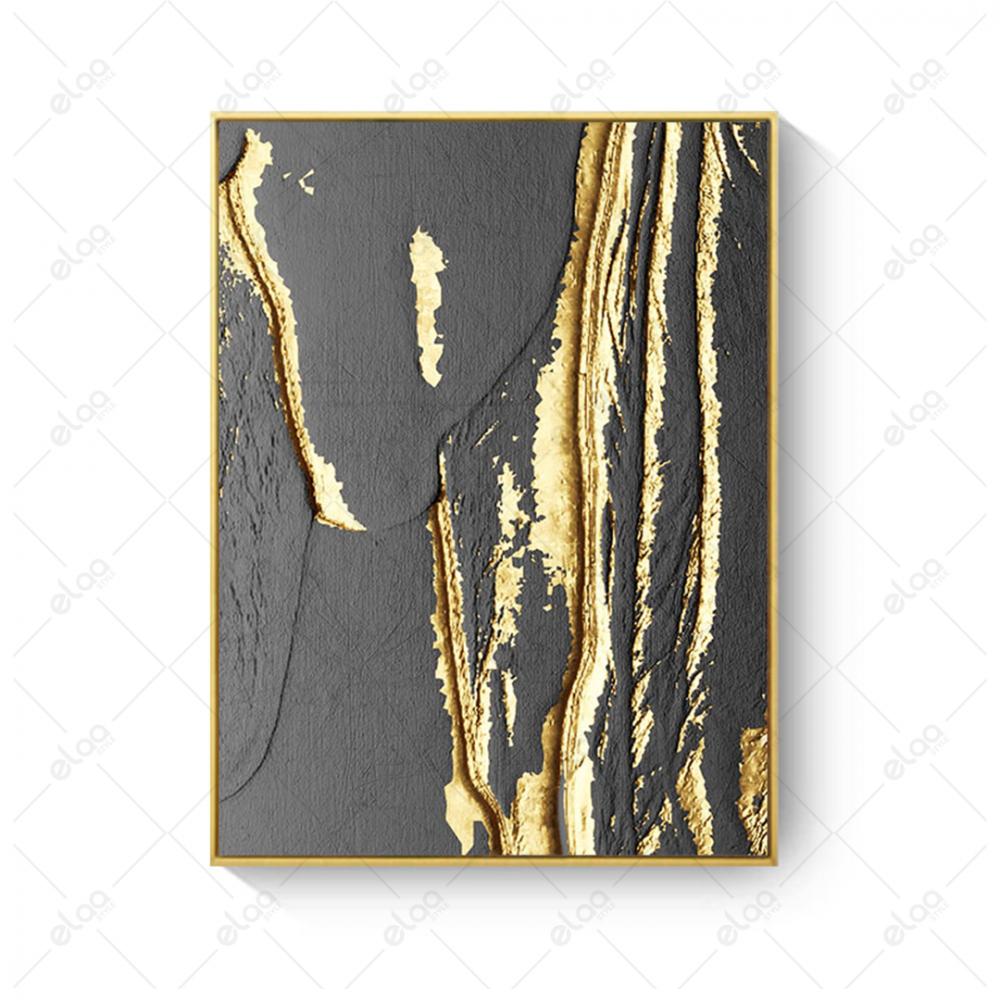 لوحة جدارية فن تجريدي جزع شجرة شقوق ذهبية