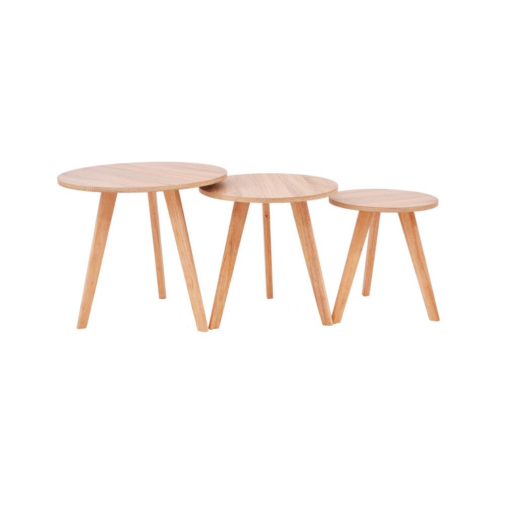 من كاماC-707wood طقم طاولة خدمة خشب لون خشبي دائري ثلاثي