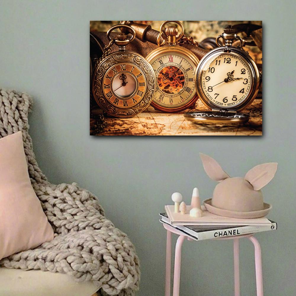 لوحة ساعات كلاسيكية خشب ام دي اف مقاس 40x60 سنتيمتر