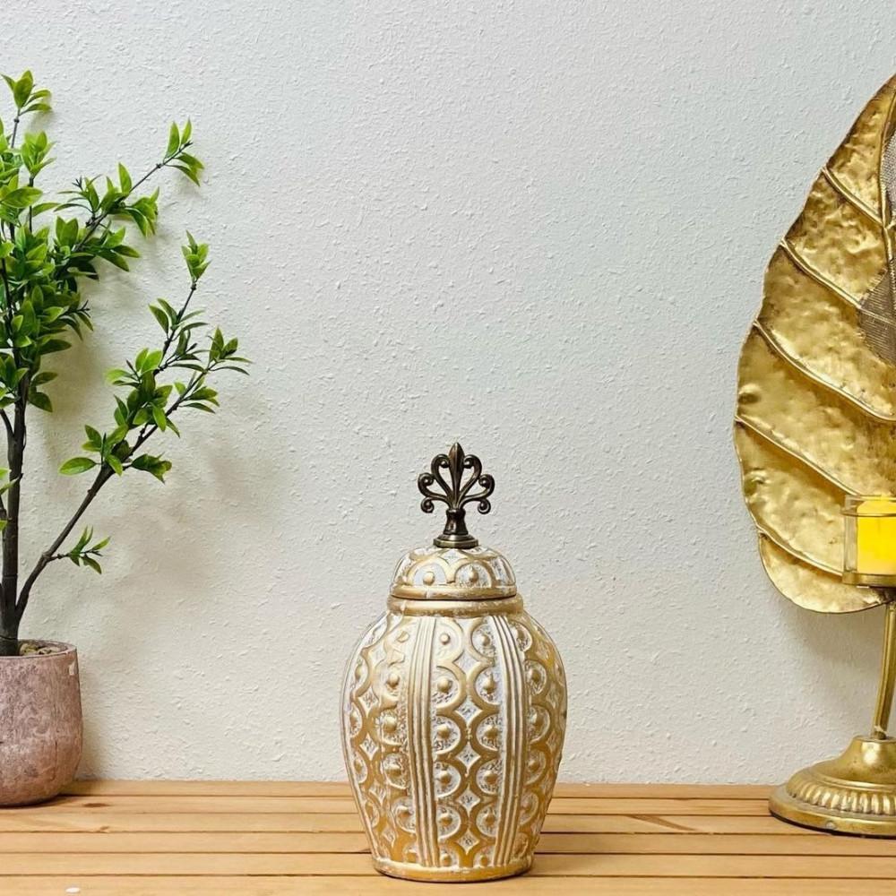 فازة انتيك سيراميك ذهبي وابيض تحف وهدايا انتيكات ديكور المنزل