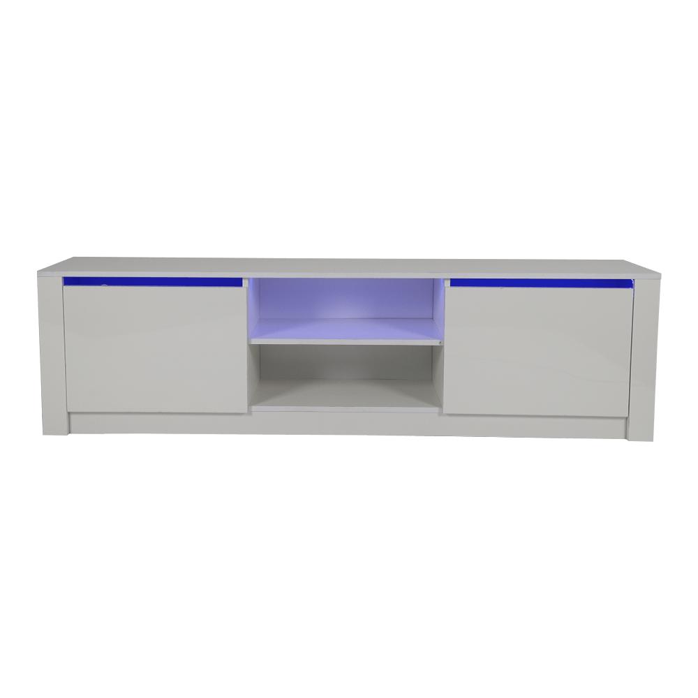 طاولة تلفاز من خشب particle board مضيئة ليد باللون الأبيض من يوتريد
