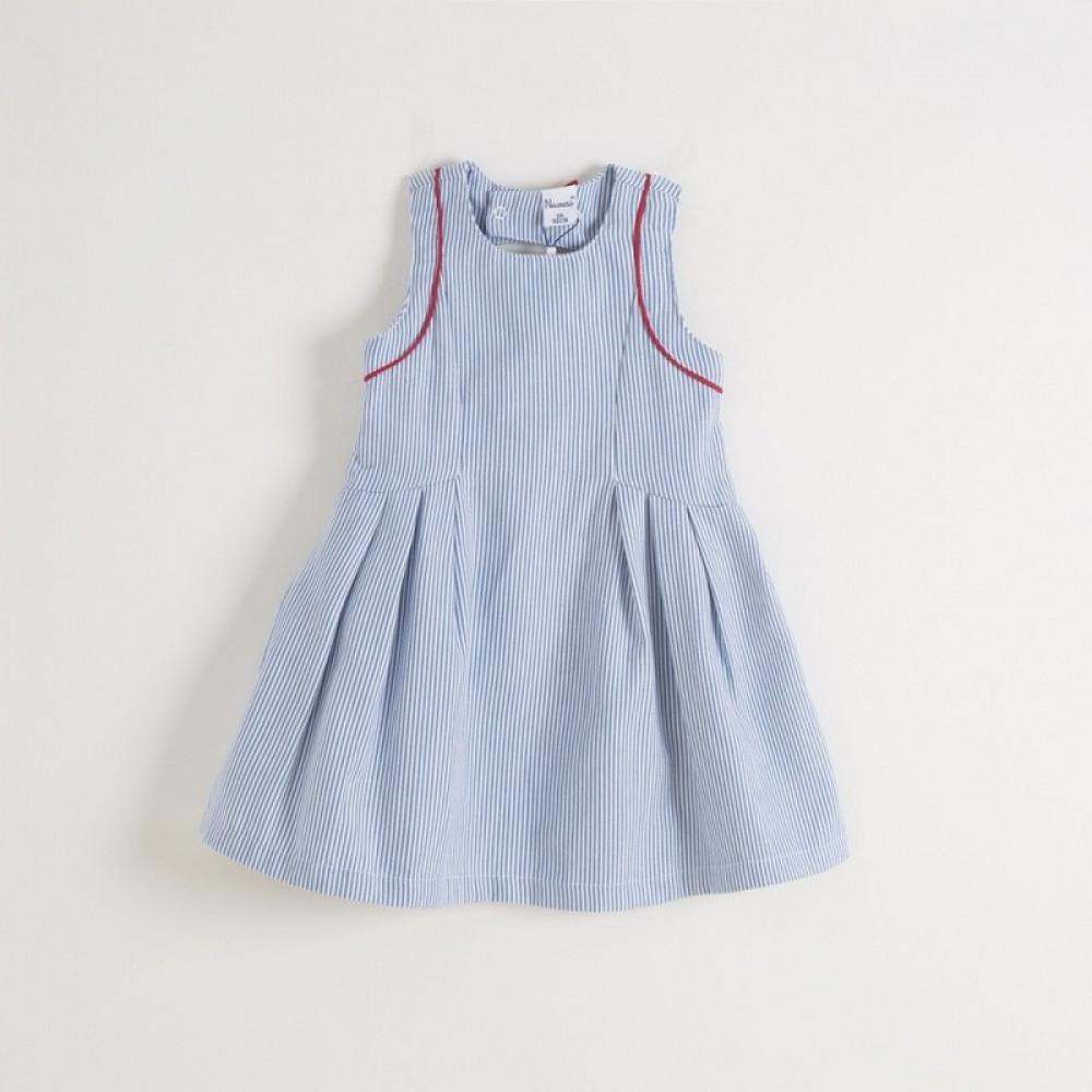 فستان- مقلم- ابيض-بأزرق-اسباني