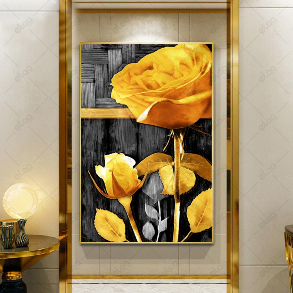 لوحة فنية لون اصفر انتقائي لوردة صفراء بخلفية اسود وأبيض