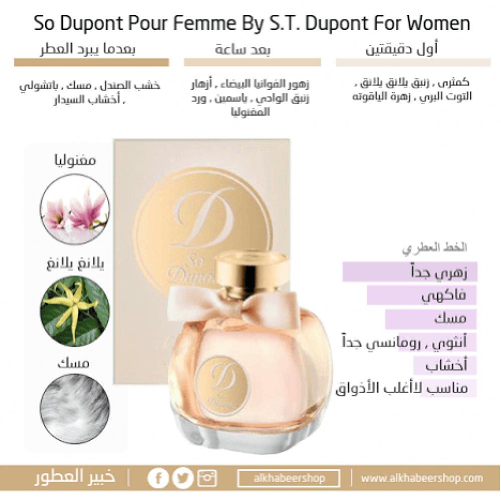 S T  Dupont So Dupont Pour Femme Eau de Parfum 100ml متجر خبير العطور