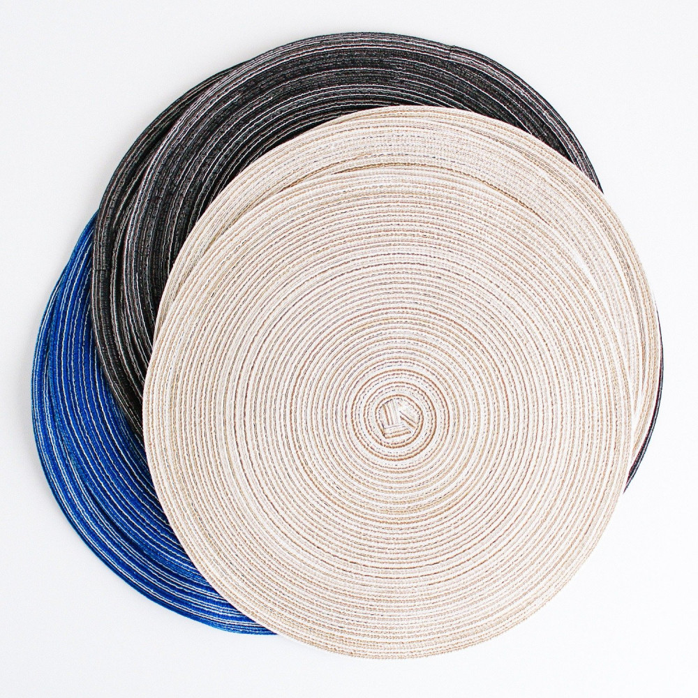 مفرش طاولة طعام مفرش أطباق دائري لون أبيض رمادي أزرق مفارش سفرة طعام