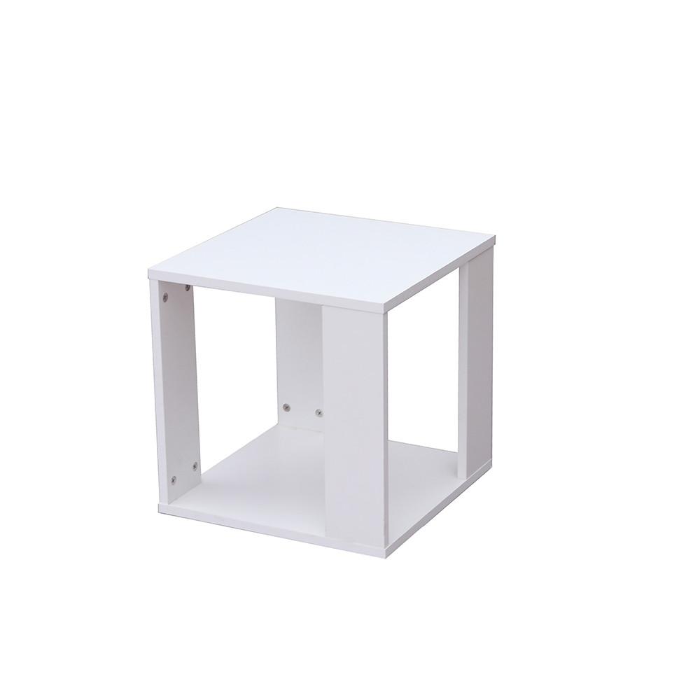 صورة واضحة طاولة جانبية موديل رماس خشب أبيض على شكل صندوق مكعب مفتوح