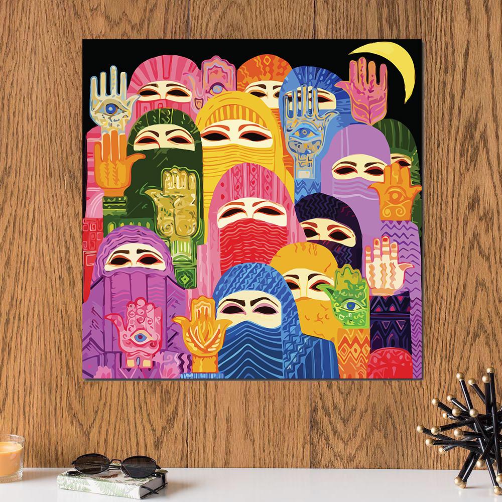 لوحة نساء كفوف ألوان خشب ام دي اف مقاس 30x30 سنتيمتر