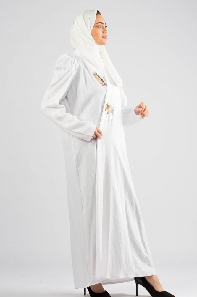 عباية بقماش بحريني سكري بتصميم منفوش