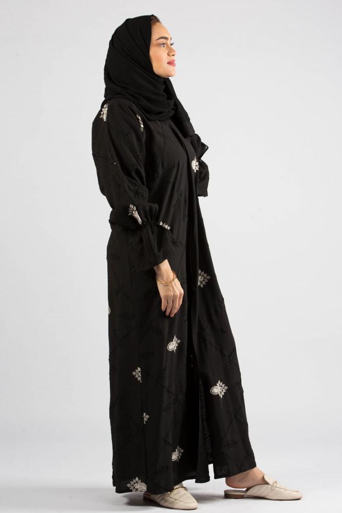 عباية سوداء كريب بحريني من ديباج