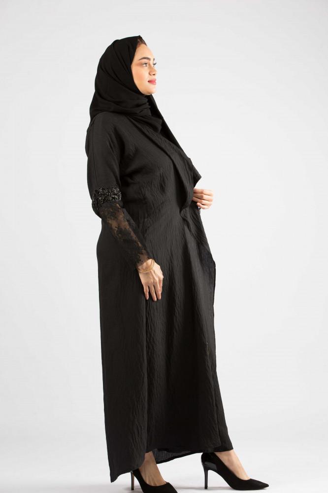 عباية بقماش بحريني تصميم شال باكمام دانتيل