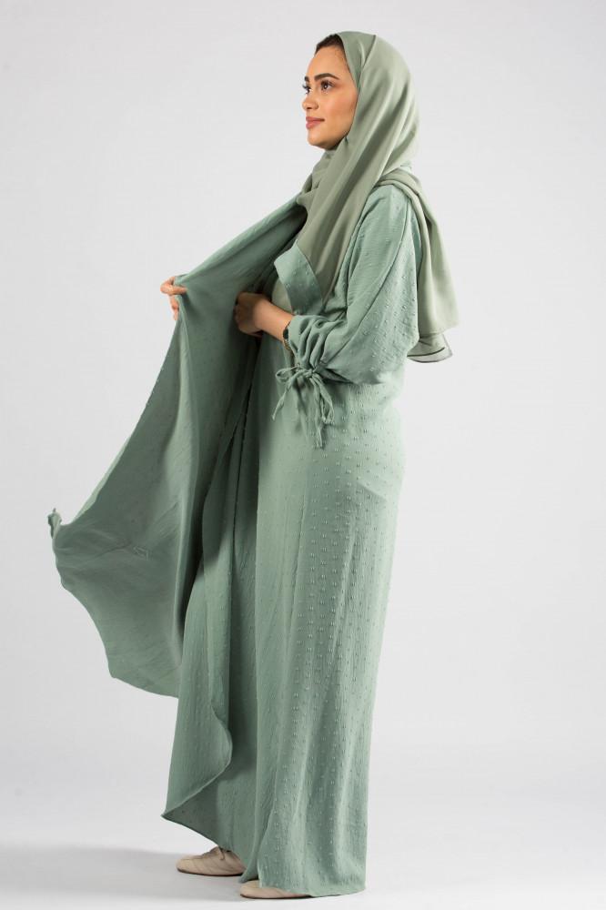 عباية قماش سيوان باللون التيفاني من ديباج
