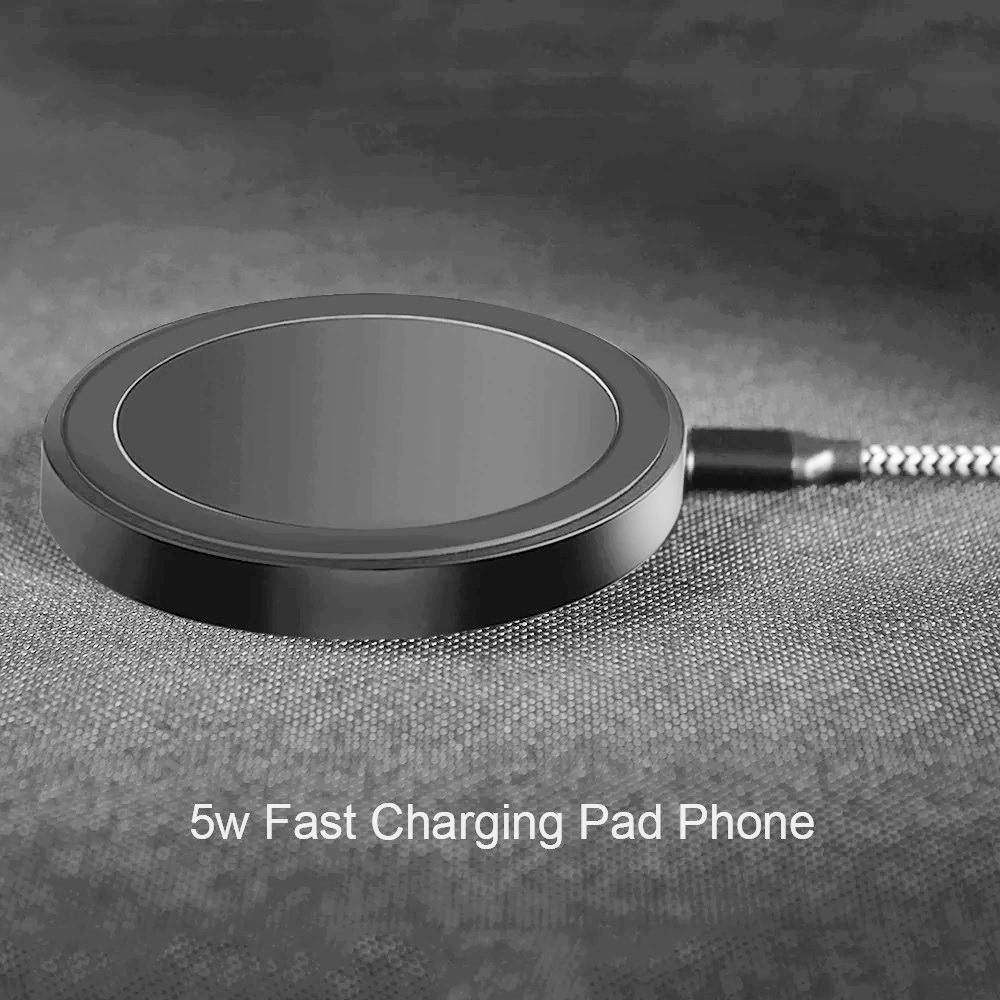 شاحن لاسلكي مفرد بقوة 5 واط يدعم الشحن السريع للهواتف الذكية اسود