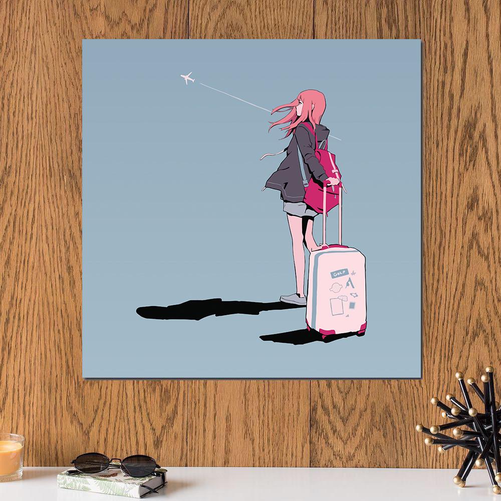 لوحة انمي , في المطار خشب ام دي اف مقاس 30x30 سنتيمتر