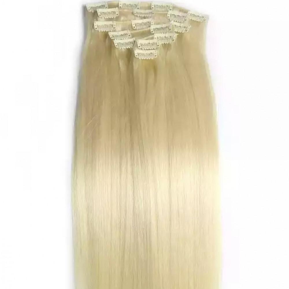 تركيب وصلات شعر طبيعي اشقر مسحوب اللون