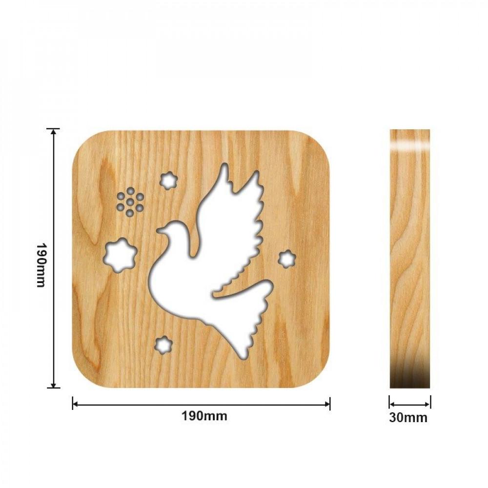 مواسم تحفة فنية مضيئة خشبية شكل الطائر القياسات التفصيلية للتحفة