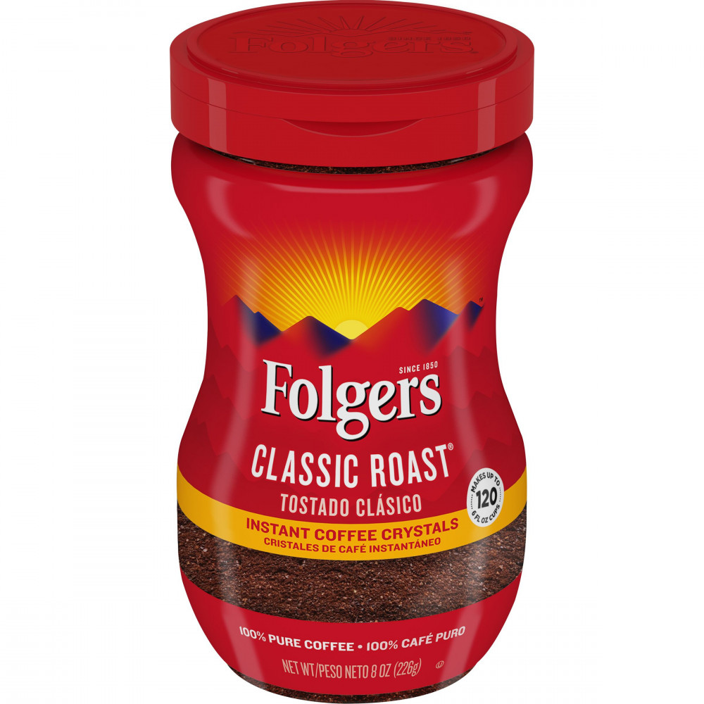 Folgers Classic Roast Instant Coffee Crystals, 283 gm Jar