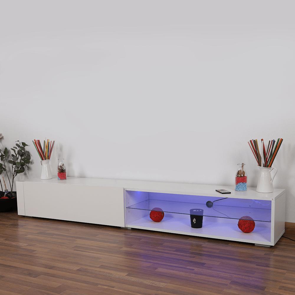طاولة تلفاز من الخشب برف زجاجي وخاصية الإضاءة الداخلية من متجر مواسم
