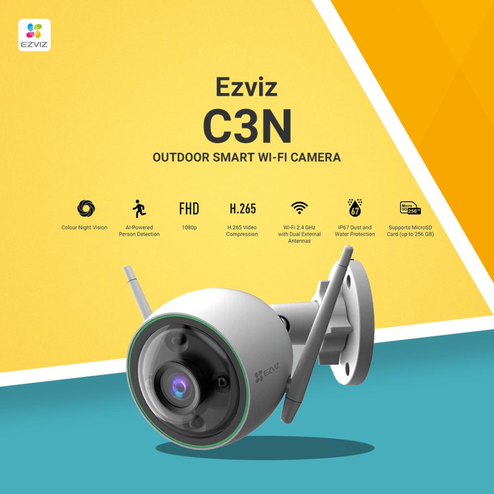 كاميرا مراقبة خارجية تصوير ليلي ملون واي فاي - من ايزفيز Ezviz C3N