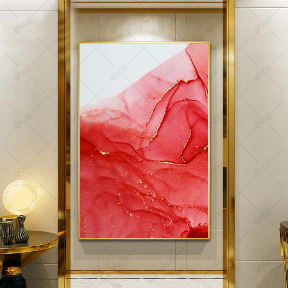لوحة فن تجريدي باللون الوردي وخطوط الذهب بخلفية باللون الابيض